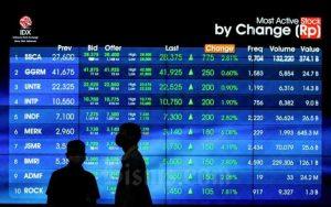 layar yang menampilkan daftar saham di bursa efek